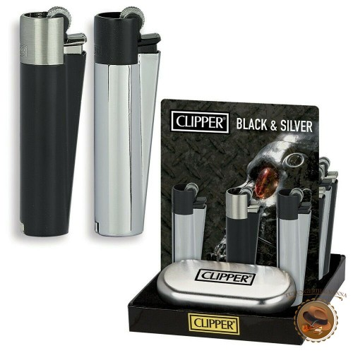 BRICHETA CLIPPER METAL BLACK AND SILVER + CUTIE CADOU INCLUSA