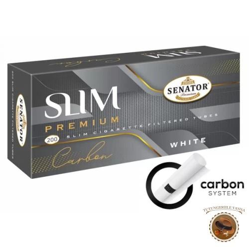 TUBURI TIGARI SENATOR ULTRA SLIM WHITE CARBON MULTIFILTER 24MM 200